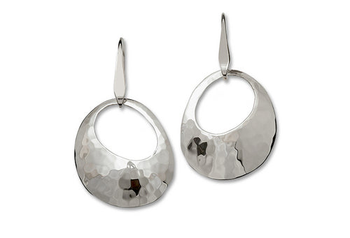 Stirling Silver Hammered Olive Earing