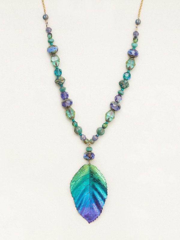 Teal and Purple Beaded Elm Leaf Necklace