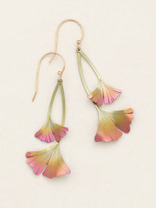 Duo Ginko Leaf Drop in Peach and Gold Earrings