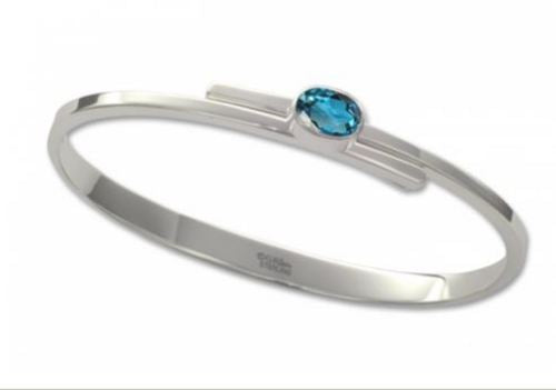 Stirling Silver Urban Swing Braclet With A Blue Topaz