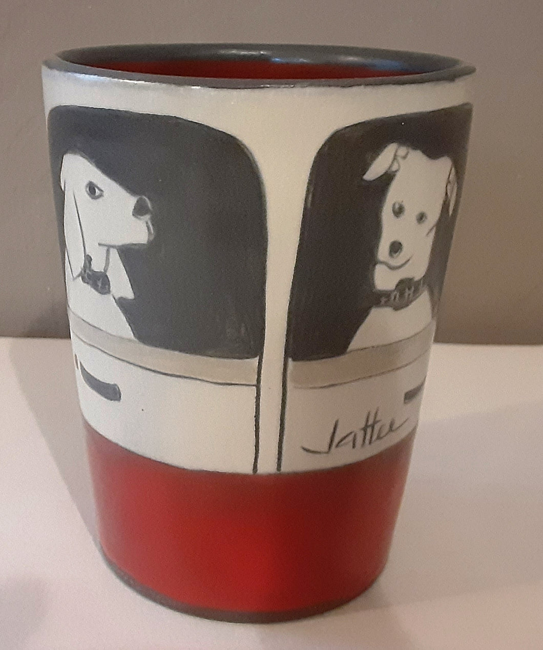 Whimsical Juice Cup With Hand Painted Dogs