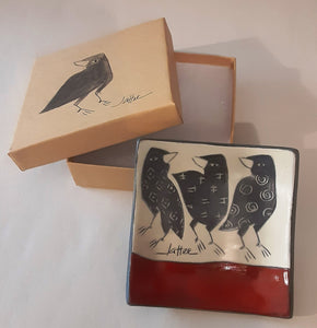 Small Boxed Porcelain Tray With A Crow