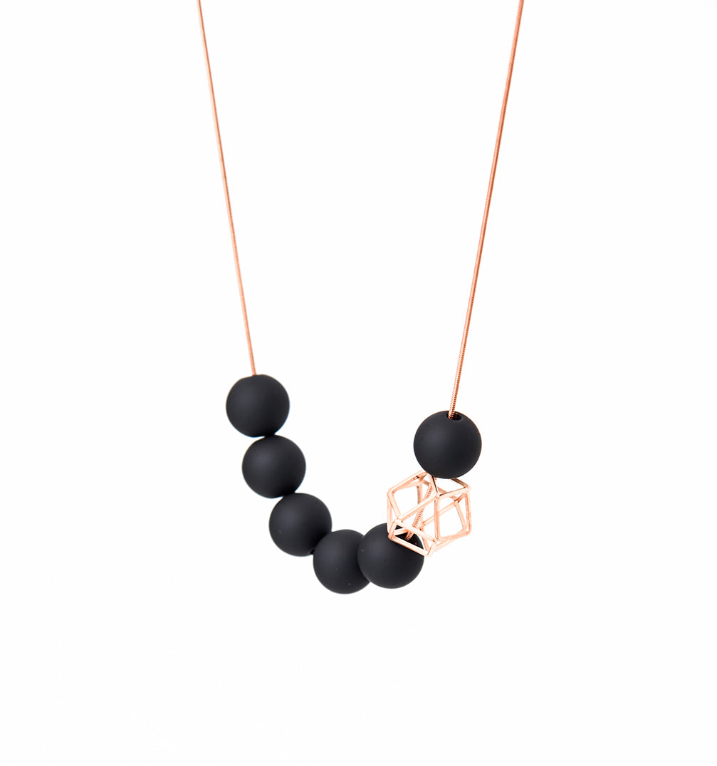 Rose Gold Hexagon With Gray Balls Necklace