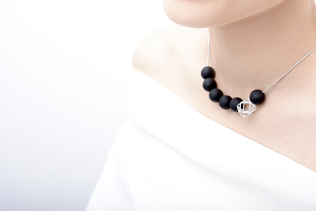 Silver Hexagon With Black Balls Necklace