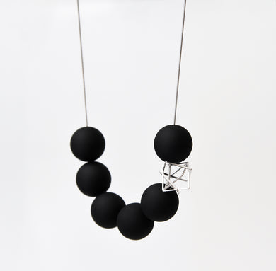 Large Black Bonbons With Silver Hexagon