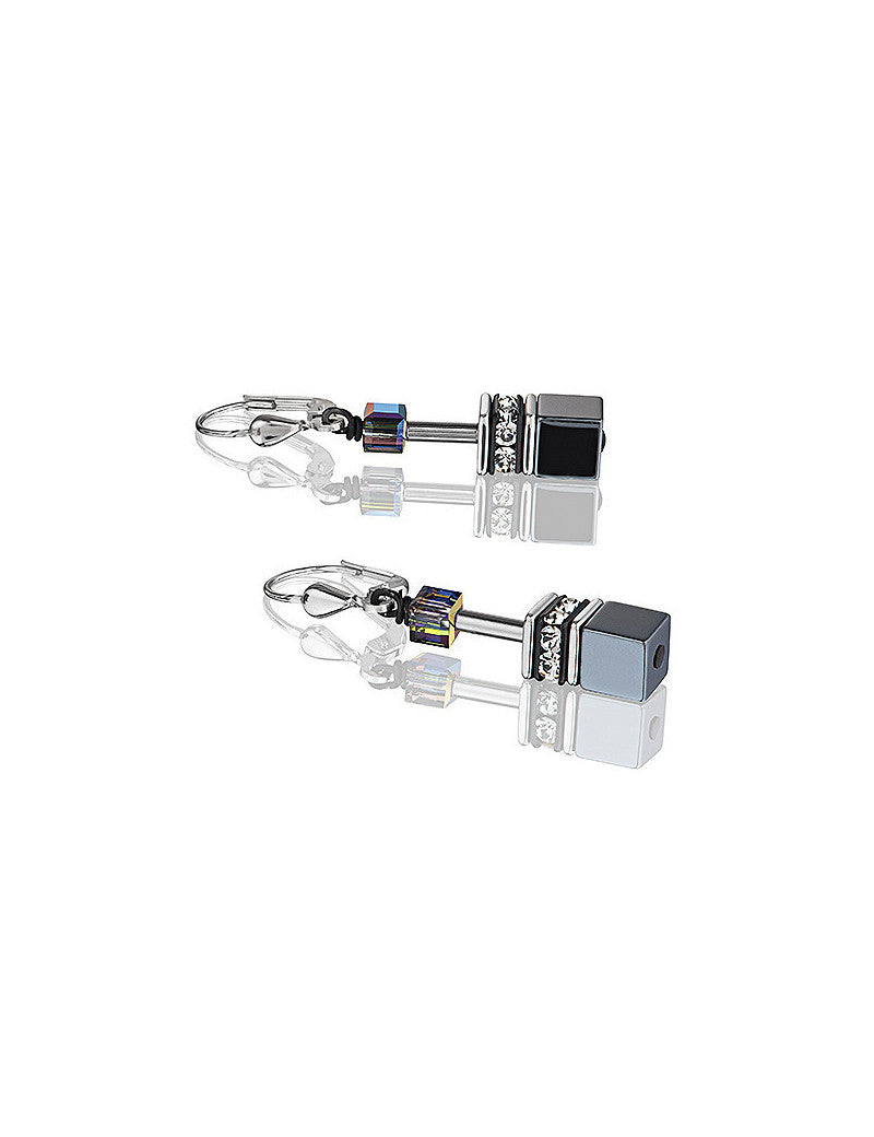 Hematite and Swarovski Crystal Leaver Back Sterling Earrings