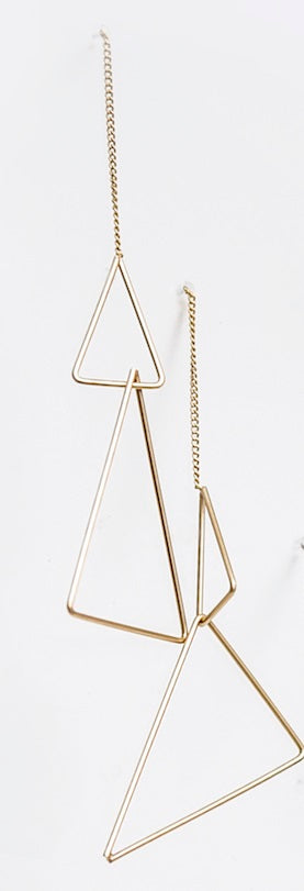 Ear Dual Triangle Drapes Satin Gold