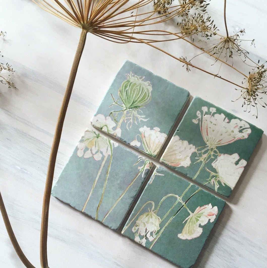 Queen Anne's Lace Coaster Set