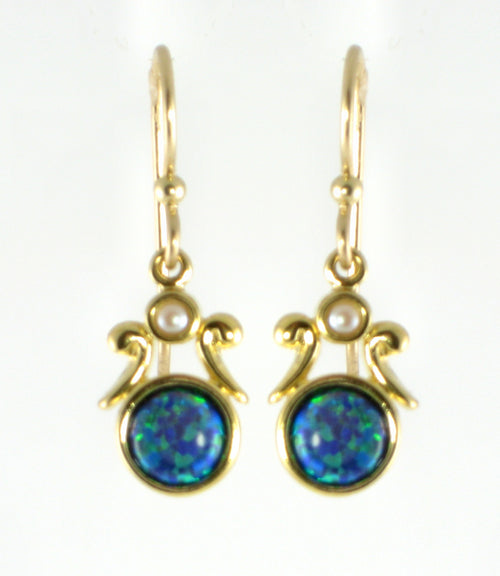 Vermeil Earrings Black Opal With Pearl