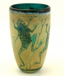 Cylinder Vase, Small, Green Frog