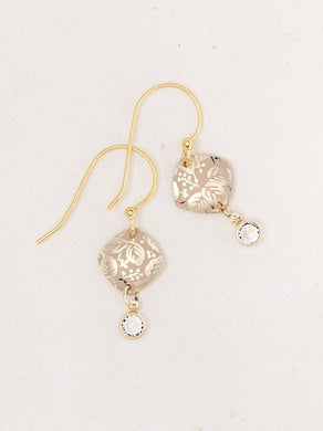 Delicate Square Gold Leaf Patterned Earrings With Crystal