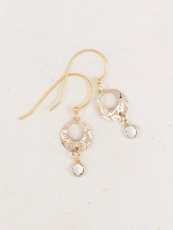 Sparkle Leaf Earrings in Gold