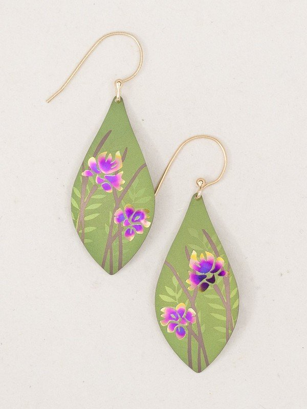 Green Niobium Earring With Iris