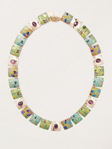 Garden Sonnet Necklace in Green and Purple