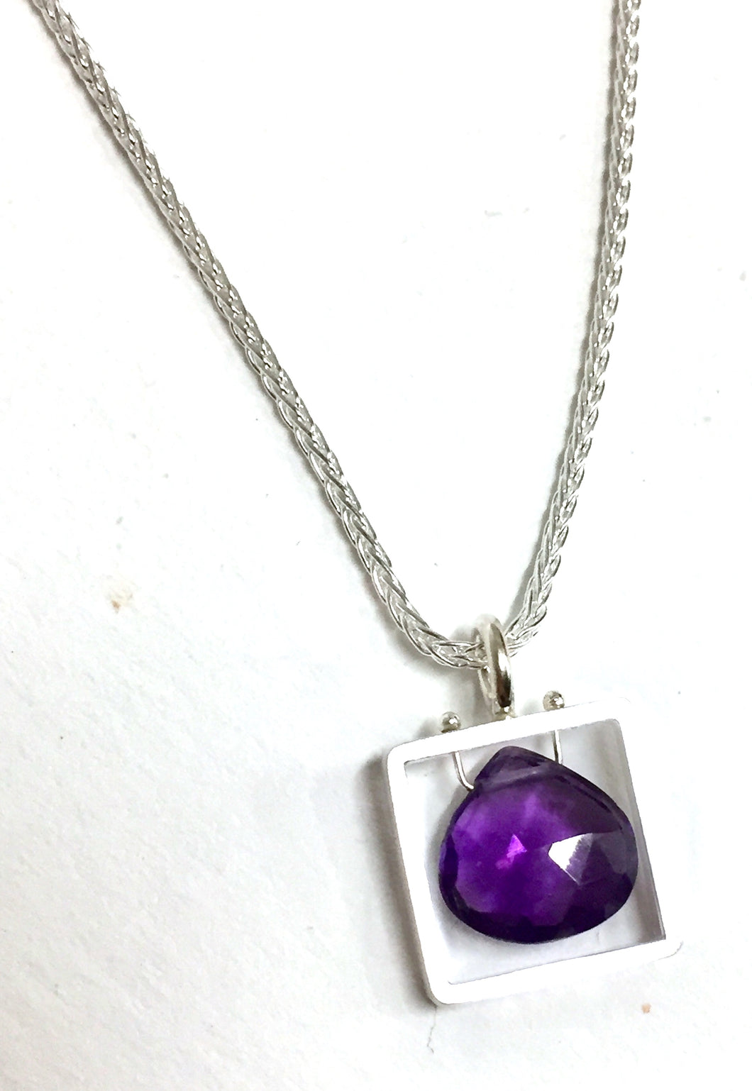 Necklace With Square Amethyst Pendant