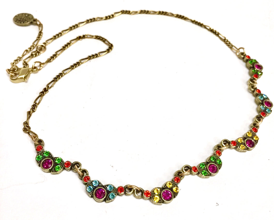 Necklace Brass With Colored Crystals