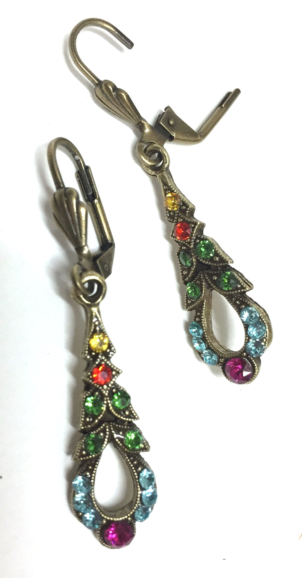 Earrings Brass and Multi Colored Crystals