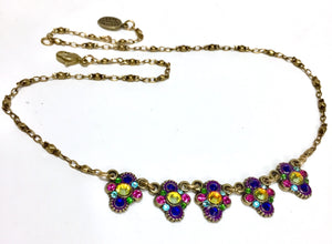 Necklace Antique Brass Crystals