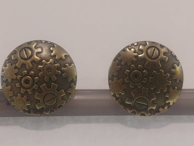 Brass Cufflinks with Gears On A Disc
