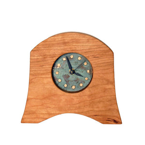 Cherry Clock With Distinct Copper Patina Face