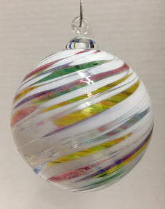 White Opaque With Multi Color Clear Swirl Ornament