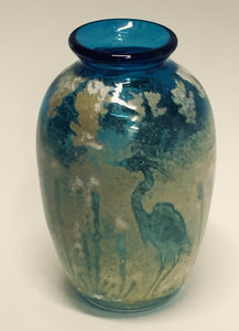 Traditionla Shaped Vase With Crane in Aqua