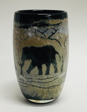 Small Cylinder Vase Elephant Black