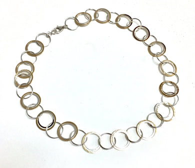 Necklace, Gold and Silver Circles 18