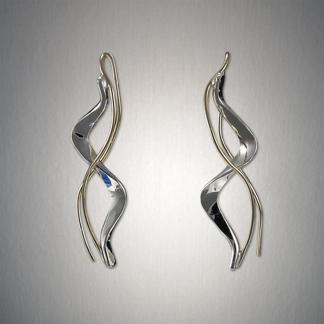 Minimalist Threader - Tango - Mixed Metal Earrings