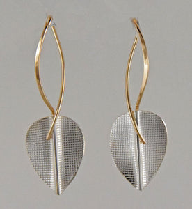 Strearling and 14K Leaf Earrings