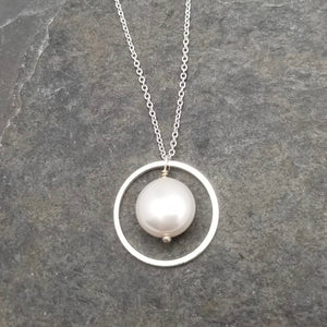 Neck, SS FWP Circle w/Coin Pearl