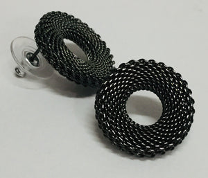 Small Textured Mesh Earrings Posts