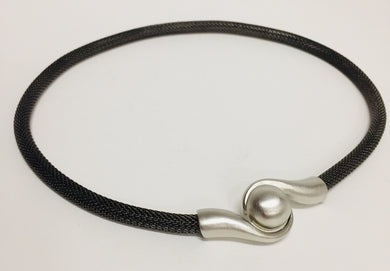 Mesh Necklace with Magnetic Swirl Ball Clasp