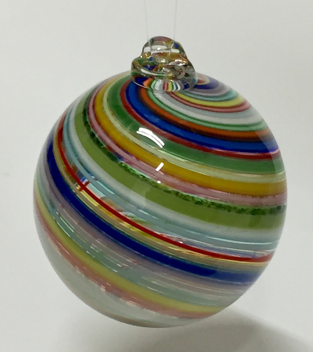 Small Round Glass Ormnament Rainbow