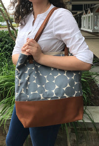 Stone Tote With Leather Bottom