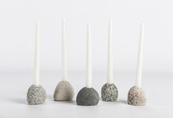 Beach Stone Taper Candle Holder