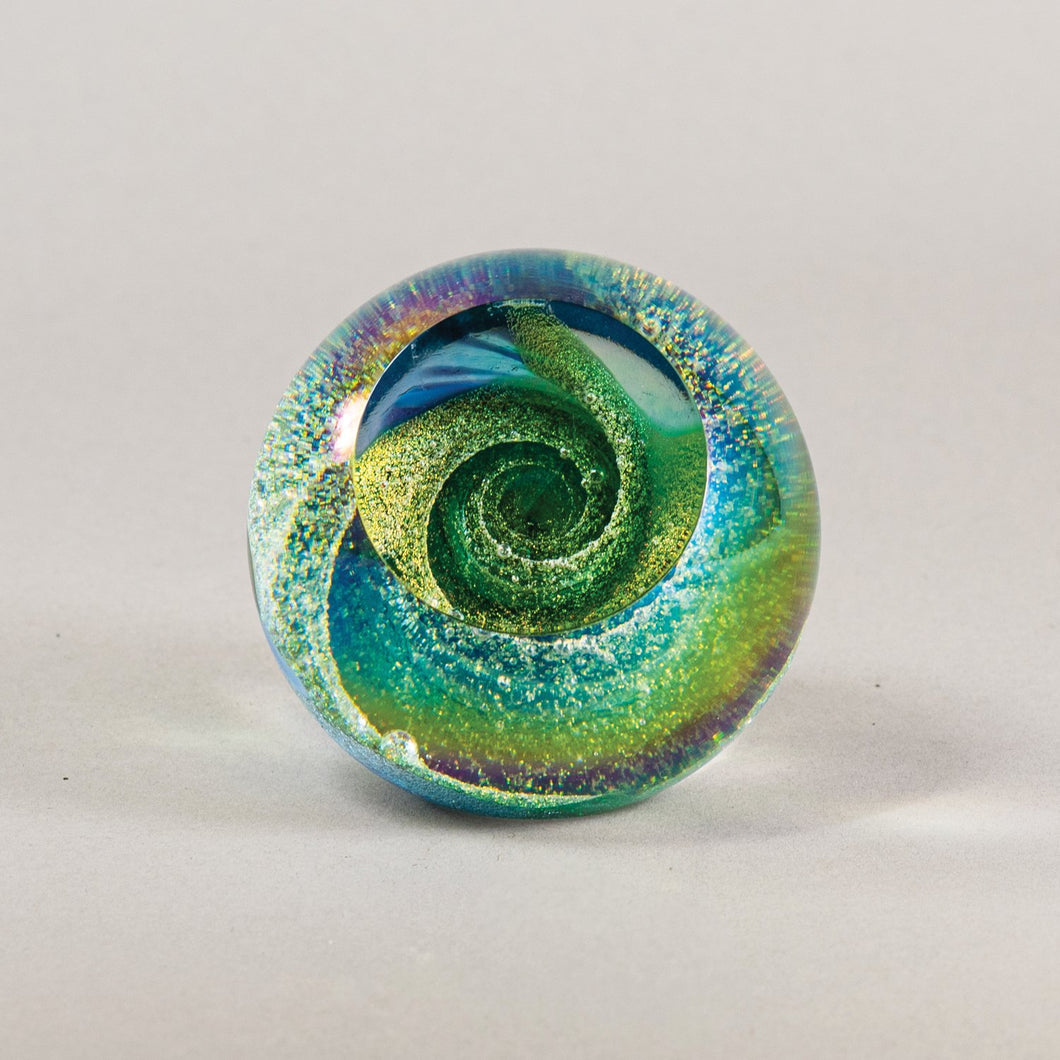 Fireball Paperweight in Emerald Sky