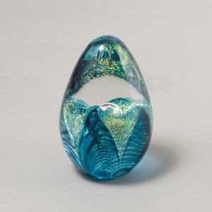 Aqua Passion Flower Egg Paperweight