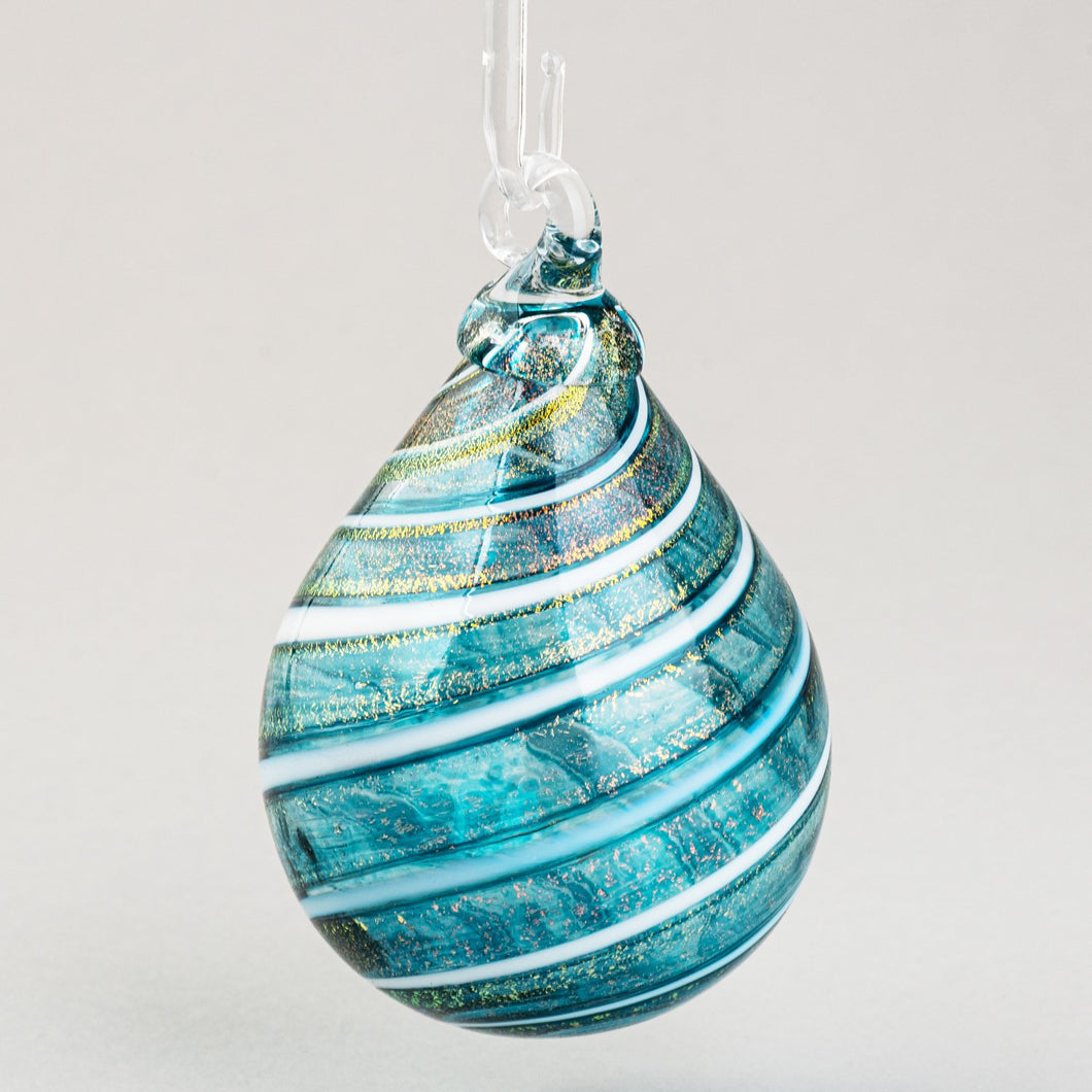 Teal Shimmer Teardrop Ornament