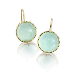 18K Gold & Sterling Silver Aqua Chalcedony Earrings