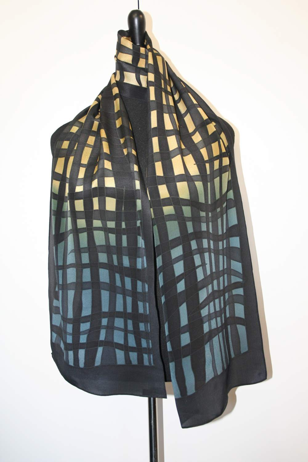 Hand Painted Mesh Crepe Scarf