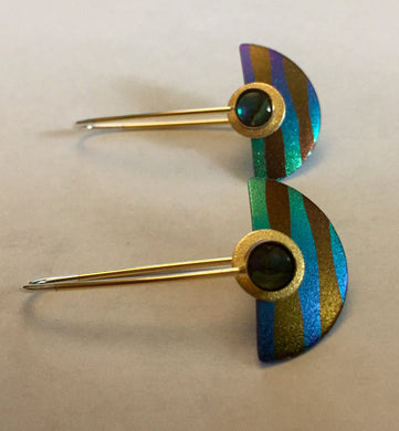 Striped Niobium Paua Shell Earring