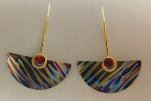 Semi Circle Patterned Niobium Earrings