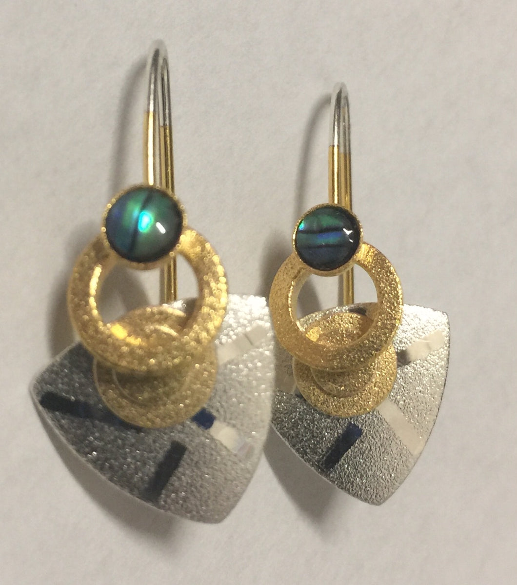 Paua Shell Sterling and Vermeil Earrings