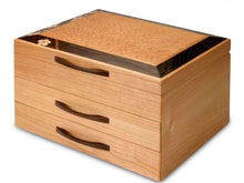 Load image into Gallery viewer, 2 Drawer Jewelry Box in Cherry With A Cherry Blossom Top