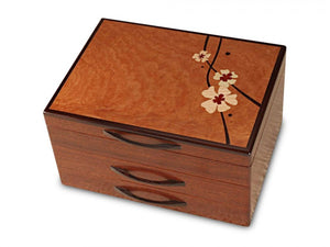 Sapele Moon Flower 2 Drawer Box