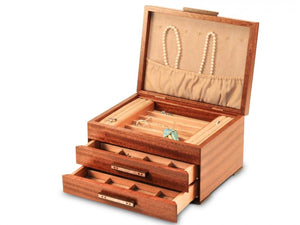 2 Drawer Jewelry Box in Sapele With Ginko Leaves Inlayed On Lid