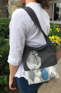 Freehand Sewn Junco Bird On Short Tote