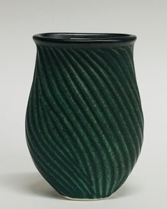 Flat Carved Vase Green