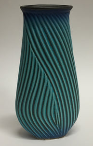 Flat Carved Vase Blue